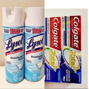 Lysol spray and colgate